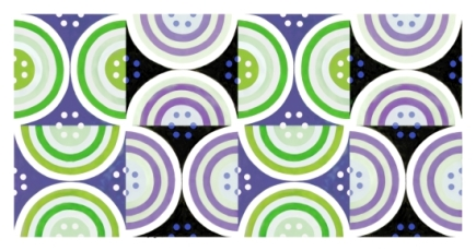 Circles Lavender Green Black White