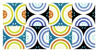 Circles Blue Yellow Ochre Black