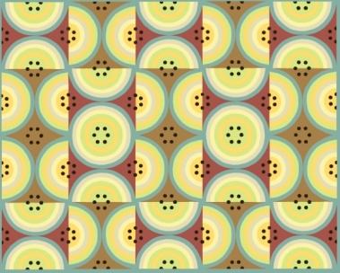 CirclesYellow Browns and Aqua Large Multiples