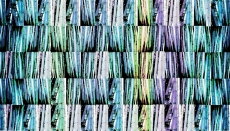 Image based on photos of bamboo, colored in shades of blue green lavender